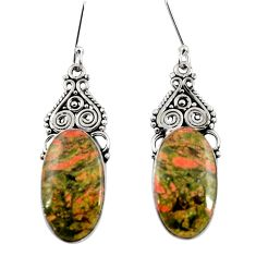Clearance Sale- 19.72cts natural green unakite 925 sterling silver dangle earrings d39619