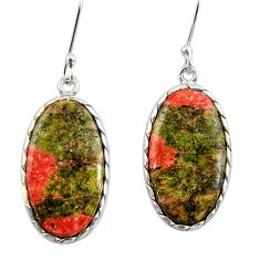 16.88cts natural green unakite 925 sterling silver dangle earrings d39709