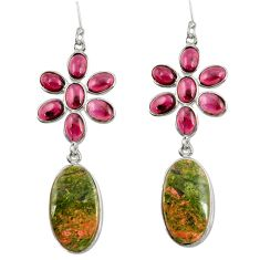 33.21cts natural green unakite garnet 925 sterling silver dangle earrings d39667