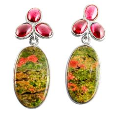 Clearance Sale- 24.49cts natural green unakite garnet 925 sterling silver dangle earrings d39680