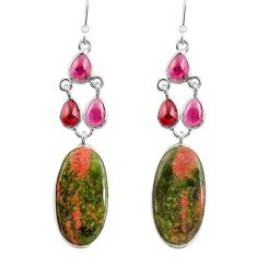 Clearance Sale- 25.83cts natural green unakite garnet 925 sterling silver dangle earrings d39689