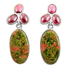Clearance Sale- 22.14cts natural green unakite garnet 925 sterling silver dangle earrings d39697