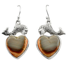 21.71cts natural grey imperial jasper 925 sterling silver fish earrings r45351