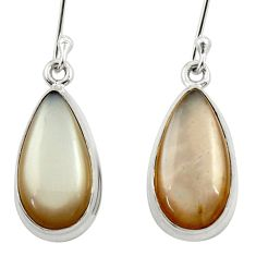12.58cts natural grey moonstone 925 sterling silver dangle earrings d39929