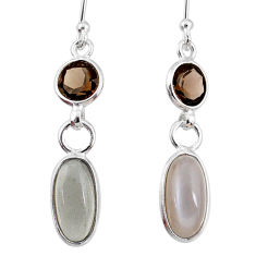 7.53cts natural grey moonstone smoky topaz 925 silver dangle earrings r68311