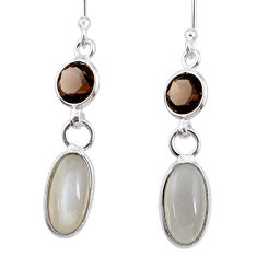 7.53cts natural grey moonstone smoky topaz 925 silver dangle earrings r68313