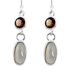 7.36cts natural grey moonstone smoky topaz 925 silver dangle earrings r68315