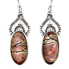 13.67cts natural grey sonoran dendritic rhyolite 925 silver earrings r30298