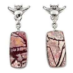 13.08cts natural grey sonoran dendritic rhyolite 925 silver owl earrings d39638