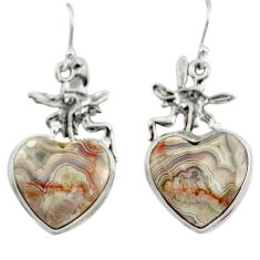 Natural heart laguna lace agate 925 silver angel wings fairy earrings r46956