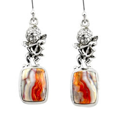 Natural heart laguna lace agate 925 silver cupid angel wings earrings r46955