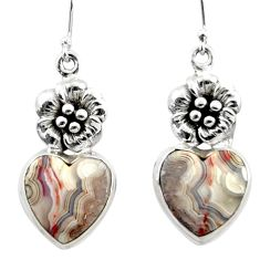 17.62cts natural heart laguna lace agate 925 silver flower earrings r46954