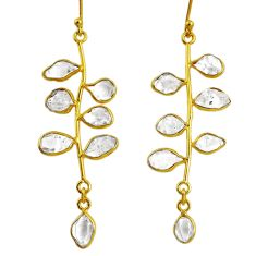 10.60cts natural herkimer diamond 925 silver 14k gold tennis earrings r64231