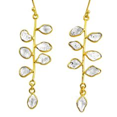 10.67cts natural herkimer diamond 925 silver 14k gold tennis earrings r64234