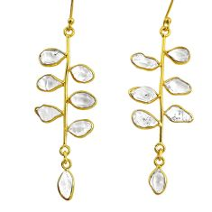 10.65cts natural herkimer diamond 925 silver 14k gold tennis earrings r64236