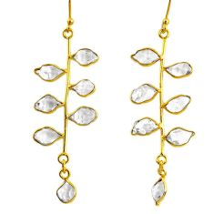 10.67cts natural herkimer diamond 925 silver 14k gold tennis earrings r64239