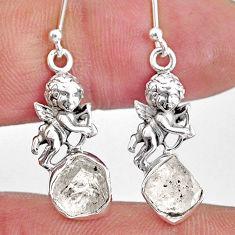 6.83cts natural herkimer diamond 925 silver cupid angel wings earrings r61575