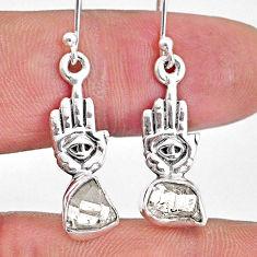 8.09cts natural herkimer diamond 925 silver hand of god hamsa earrings r61564