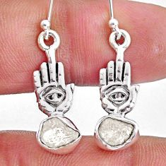 7.66cts natural herkimer diamond 925 silver hand of god hamsa earrings r61570