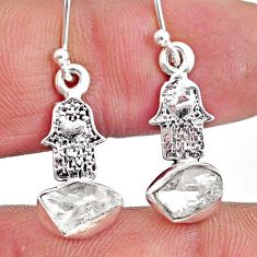 6.67cts natural herkimer diamond 925 silver hand of god hamsa earrings r61579