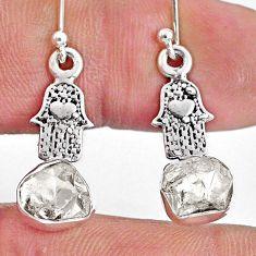 7.17cts natural herkimer diamond 925 silver hand of god hamsa earrings r61580
