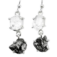 16.90cts natural herkimer diamond campo del cielo 925 silver earrings r73550