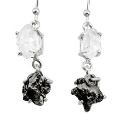18.98cts natural herkimer diamond campo del cielo 925 silver earrings r73557