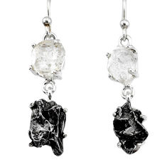 16.85cts natural herkimer diamond campo del cielo 925 silver earrings r73635