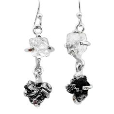 12.57cts natural herkimer diamond campo del cielo 925 silver earrings t49773