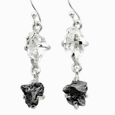 13.08cts natural herkimer diamond campo del cielo 925 silver earrings t49797