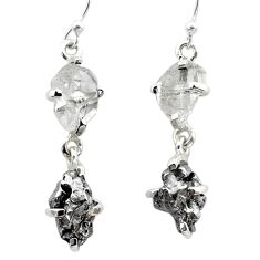 14.76cts natural herkimer diamond campo del cielo silver dangle earrings t49784