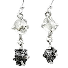 13.69cts natural herkimer diamond campo del cielo silver dangle earrings t49791