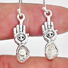7.75cts natural herkimer diamond fancy silver hand of god hamsa earrings r61565