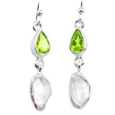 10.33cts natural herkimer diamond peridot 925 silver dangle earrings r65662