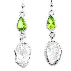 13.09cts natural herkimer diamond peridot 925 silver dangle earrings r65663
