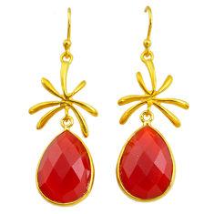 16.07cts natural honey onyx 14k gold handmade dangle earrings t11478