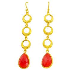 10.81cts natural honey onyx 14k gold handmade dangle earrings t11481