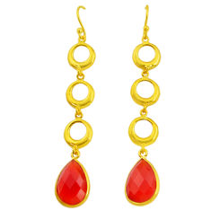 10.39cts natural honey onyx 14k gold handmade dangle earrings t11482