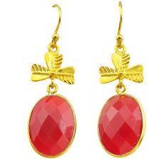 17.90cts natural honey onyx 14k gold handmade dangle earrings t11512