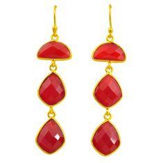 18.57cts natural honey onyx 14k gold handmade dangle earrings t11554