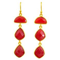 18.57cts natural honey onyx 14k gold handmade dangle earrings t11555