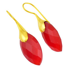 17.90cts natural honey onyx 14k gold handmade dangle earrings jewelry t11563
