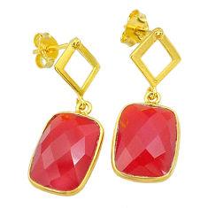 11.17cts natural honey onyx 14k gold handmade dangle earrings jewelry t11588