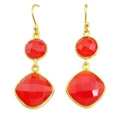 14.91cts natural honey onyx 14k gold handmade dangle earrings t11615