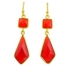 14.30cts natural honey onyx 14k gold handmade dangle earrings t11653