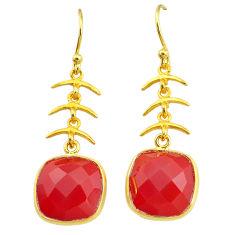 11.73cts natural honey onyx 14k gold handmade dangle earrings t11677