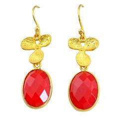 11.23cts natural honey onyx 14k gold handmade dangle earrings t11693