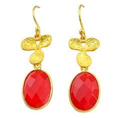 13.13cts natural honey onyx handmade 14k gold dangle earrings t16412