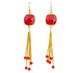 honey onyx handmade 14k gold dangle earrings t16463