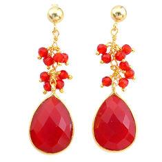 15.86cts natural honey onyx handmade 14k gold dangle earrings t16582